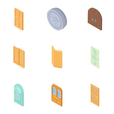 double entry: Types of doors icons set. Cartoon illustration of 9 types of doors vector icons for web Illustration