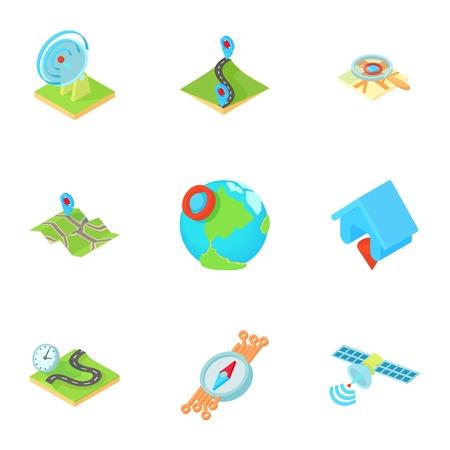 road position: GPS icons set. Cartoon illustration of 9 gps vector icons for web Illustration