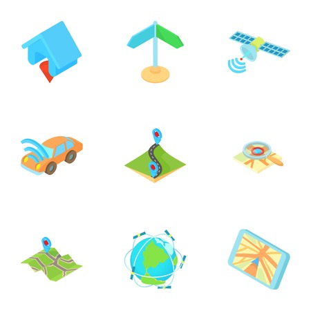 GPS navigation icons set. Cartoon illustration of 9 gps navigation vector icons for web