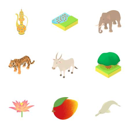 Country India icons set. Cartoon illustration of 9 country India vector icons for web