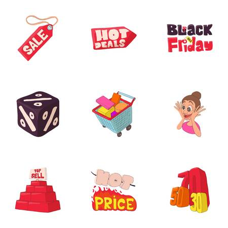 Sale icons set. Cartoon illustration of 9 sale vector icons for web Illustration
