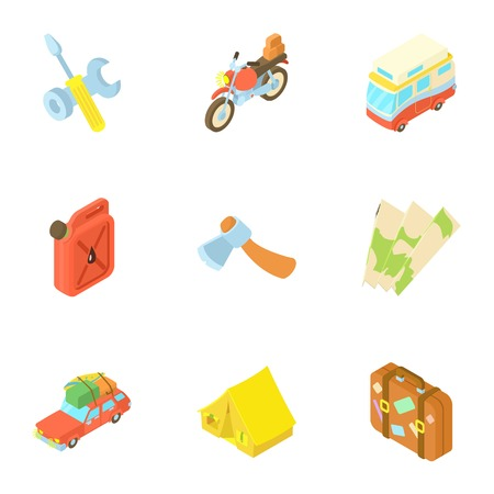 Camp icons set. Cartoon illustration of 9 camp vector icons for web