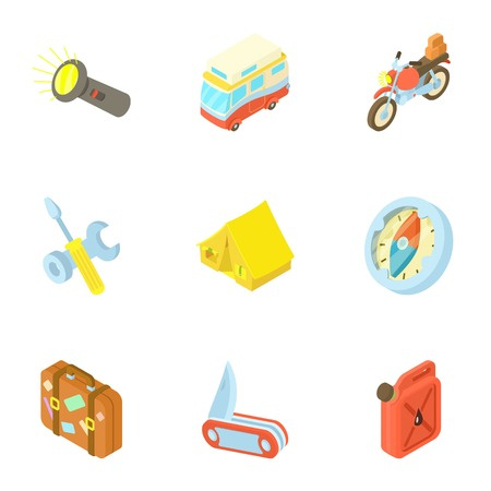 rest: Rest on nature icons set. Cartoon illustration of 9 rest on nature vector icons for web