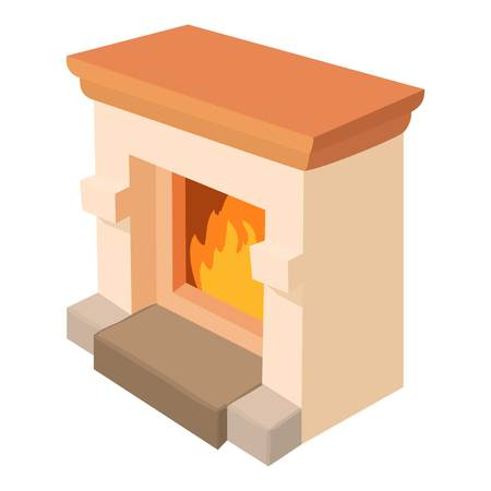 mantelpiece: Fireplace icon. Cartoon illustration of fireplace vector icon for web