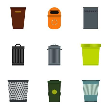 rubbish bin: Rubbish bin icons set. Flat illustration of 9 rubbish bin vector icons for web Illustration