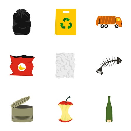 fish type: Types of waste icons set. Flat illustration of 9 types of waste vector icons for web