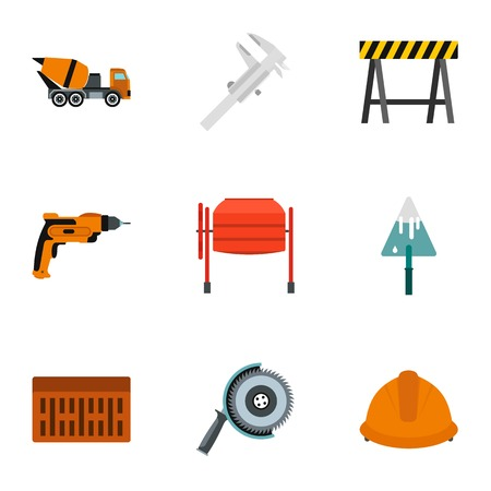 Repair tools icons set. Flat illustration of 9 repair tools vector icons for web