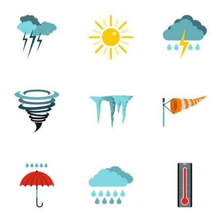 icicles: Weather icons set. Flat illustration of 9 weather vector icons for web