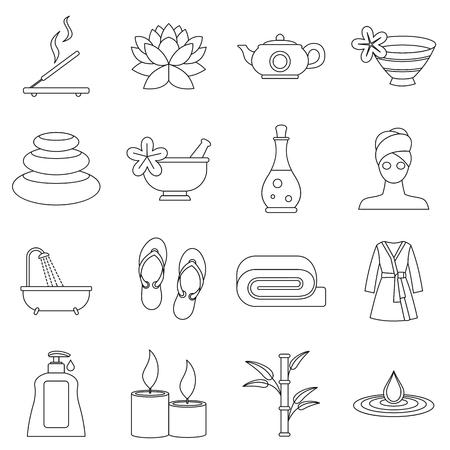 Spa traitements icons set. Outline illustration de 16 soins spa vecteur icônes pour le web