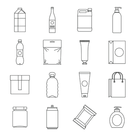 Packaging items icons set. Outline illustration of 16 packaging items vector icons for web Ilustração