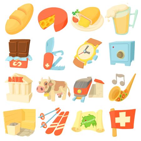 alphorn: Switzerland itravel icons set. Cartoon illustration of 16 Switzerland travel vector icons for web