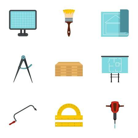 renovate: Repair icons set. Flat illustration of 9 repair vector icons for web