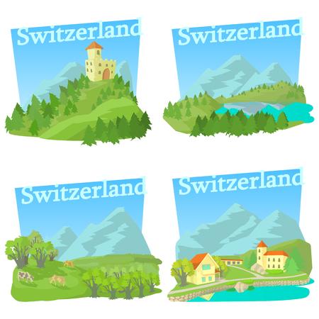 alphorn: Switzerland travel concepts set. Cartoon illustration of 4 Switzerland travel vector concepts for web
