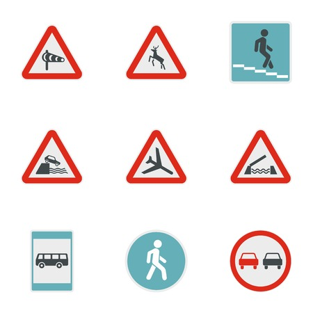 Sign on road icons set. Flat illustration of 9 sign on road vector icons for web Illustration