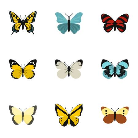 collect: Creatures butterflies icons set. Flat illustration of 9 creatures butterflies vector icons for web