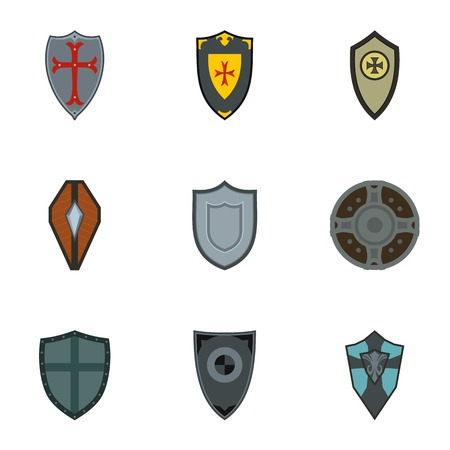 protective shield: Protective shield icons set. Flat illustration of 9 protective shield vector icons for web