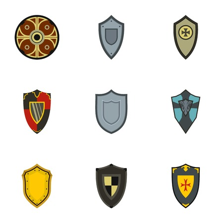 combatant: Army shield icons set. Flat illustration of 9 army shield vector icons for web