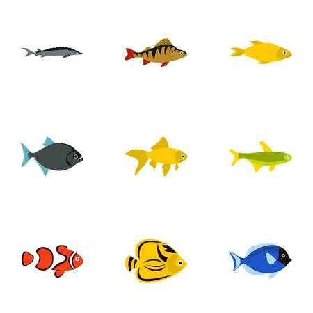 Fish icons set. Flat illustration of 9 fish vector icons for web