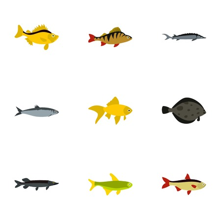 Species of fish icons set. Flat illustration of 9 species of fish vector icons for web