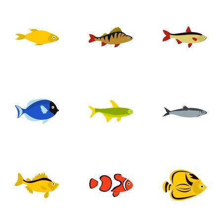 Marine fish icons set. Flat illustration of 9 marine fish vector icons for web Illustration