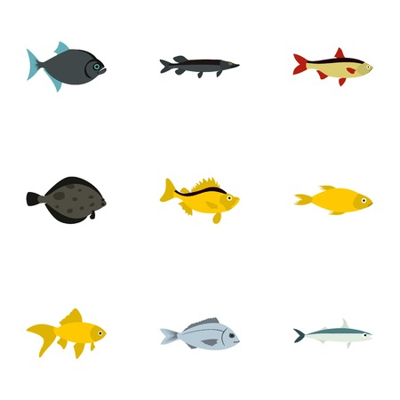 Tropical fish icons set. Flat illustration of 9 tropical fish vector icons for web Illustration