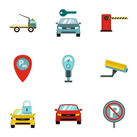activate: Parking area icons set. Flat illustration of 9 parking area vector icons for web Illustration