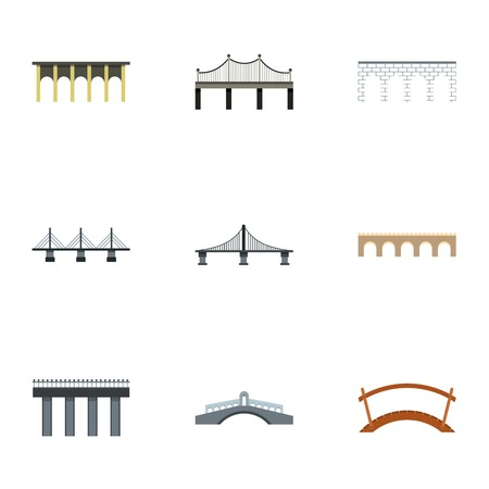 Jeu d'icônes de pont. Plate illustration de 9 icônes vectorielles de pont pour le web