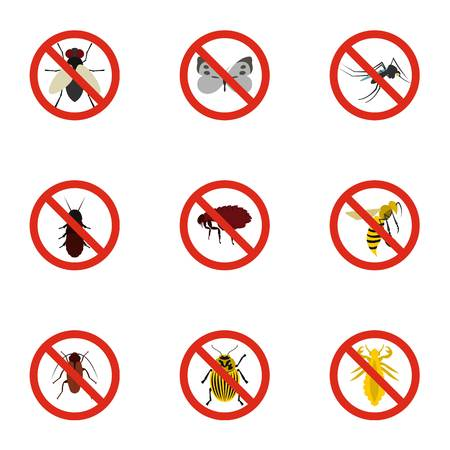 itch: Insects sign icons set. Flat illustration of 9 insects sign vector icons for web