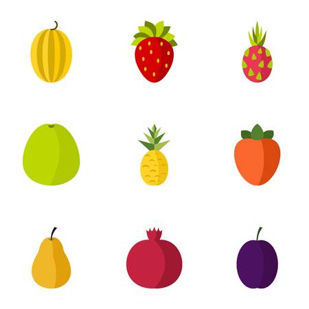 orchard: Orchard fruits icons set. Flat illustration of 9 orchard fruits vector icons for web