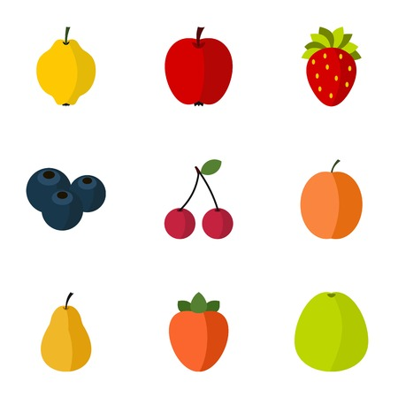 persimmon: Farm fruits icons set. Flat illustration of 9 farm fruits vector icons for web