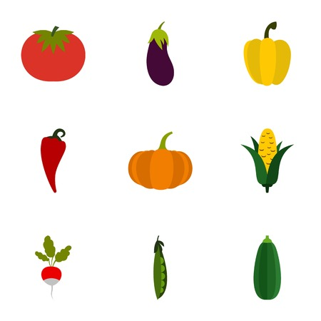 orchard: Orchard vegetables icons set. Flat illustration of 9 orchard vegetables vector icons for web