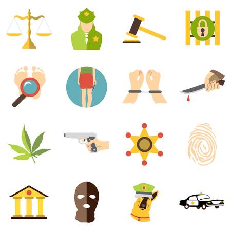 stabbed: Criminal icons set. Cartoon illustration of 16 criminal vector icons for web