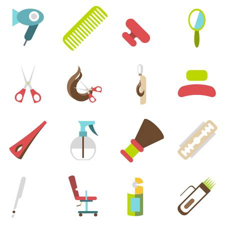 coiffeur: Hairdresser icons set. Cartoon illustration of 16 hairdresser vector icons for web