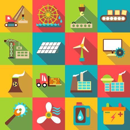icônes industrielles définies. illustration plat de 16 industriels vecteur icônes pour le web Vecteurs
