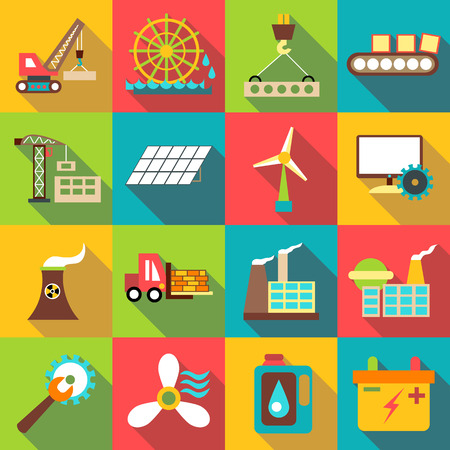 alternator: Industrial icons set. Flat illustration of 16 industrial vector icons for web