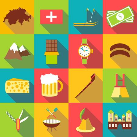 alphorn: Switzerland itravel cons set. Flat illustration of 16 Switzerland travel vector icons for web