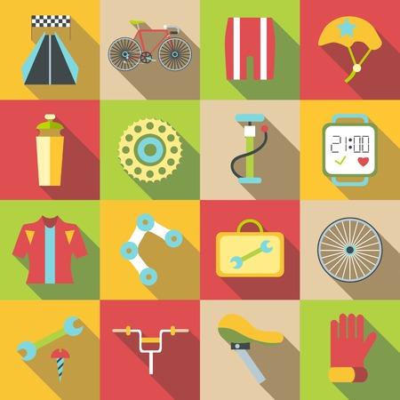 biking glove: Bike items icons set. Flat illustration of 16 bike items vector icons for web Illustration