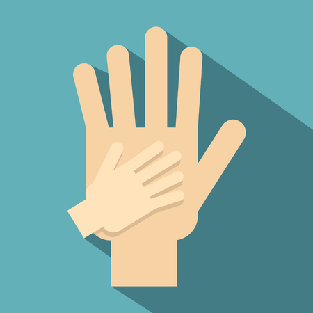 depend: Parent and child hands together icon. Flat illustration of parent and child hands icon for web design