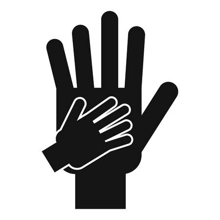 Parent and child hands together icon. Simple illustration of parent and child hands icon for web design