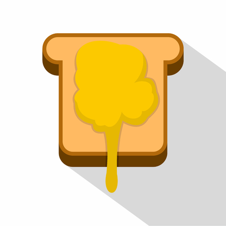 confiture: Toast with honey icon. Flat illustration of toast with honey icon for web design Illustration