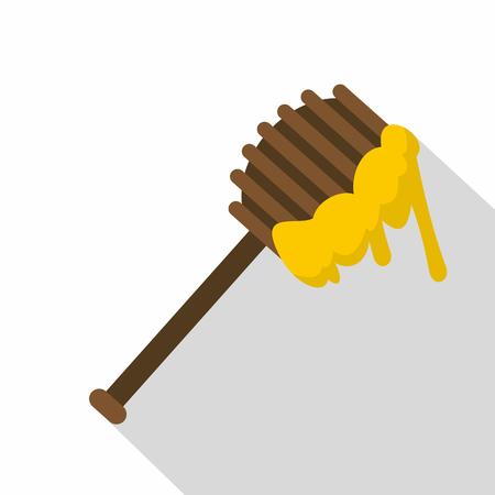 Honey spoon icon. Flat illustration of honey spoon icon for web Illustration