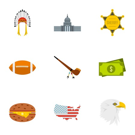 Holiday in USA icons set. Flat illustration of 9 holiday in USA vector icons for web Illustration