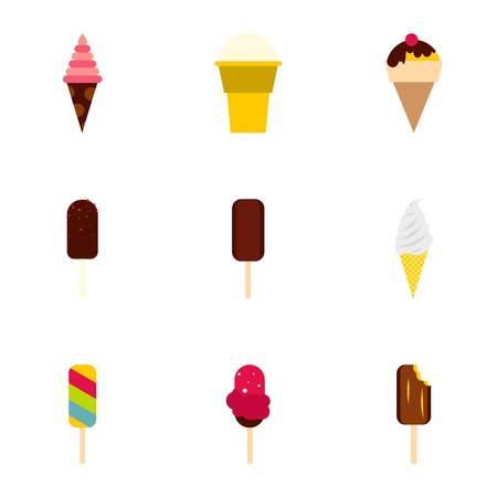 Zestaw ikon zimnej słodyczy. Płaski ilustracja 9 zimnych słodyczy ikon wektorowych dla sieci web