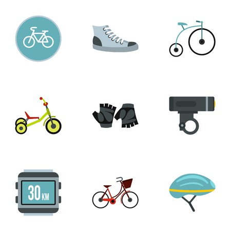 spoke: Bicycle parts icons set. Flat illustration of 9 bicycle parts vector icons for web Illustration
