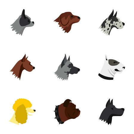 Pet dog icons set. Flat illustration of 9 pet dog vector icons for web Illustration