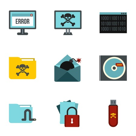 ddos: Ddos attack icons set. Flat illustration of 9 ddos attack vector icons for web