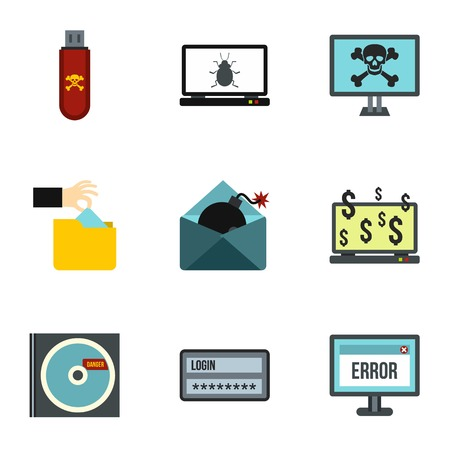 hacking: Hacking icons set. Flat illustration of 9 hacking vector icons for web