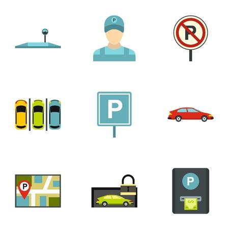 valet: Valet parking icons set. Flat illustration of 9 valet parking vector icons for web