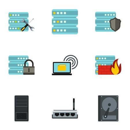 Set di icone di dati. Illustrazione piana di 9 icone vettoriali di dati per il web