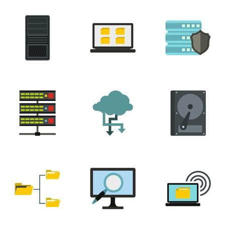Data protection icons set. Flat illustration of 9 data protection vector icons for web Illustration